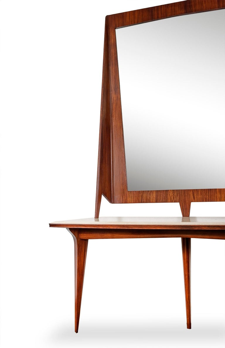 Mirror console rosewood and travertine 