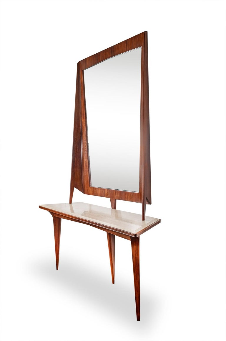 Mid-Century Modern Mirror Console Rosewood and Travertine by Mobili Cantu, 1950 For Sale