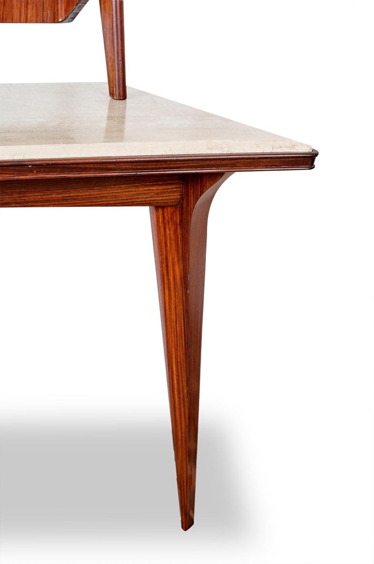 Italian Mirror Console Rosewood and Travertine by Mobili Cantu, 1950 For Sale