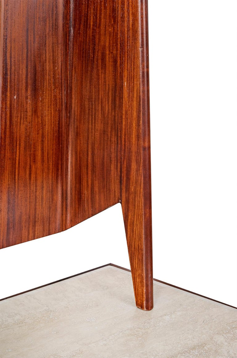 20th Century Mirror Console Rosewood and Travertine by Mobili Cantu, 1950 For Sale