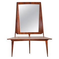 Mirror Console Rosewood and Travertine by Mobili Cantu, 1950