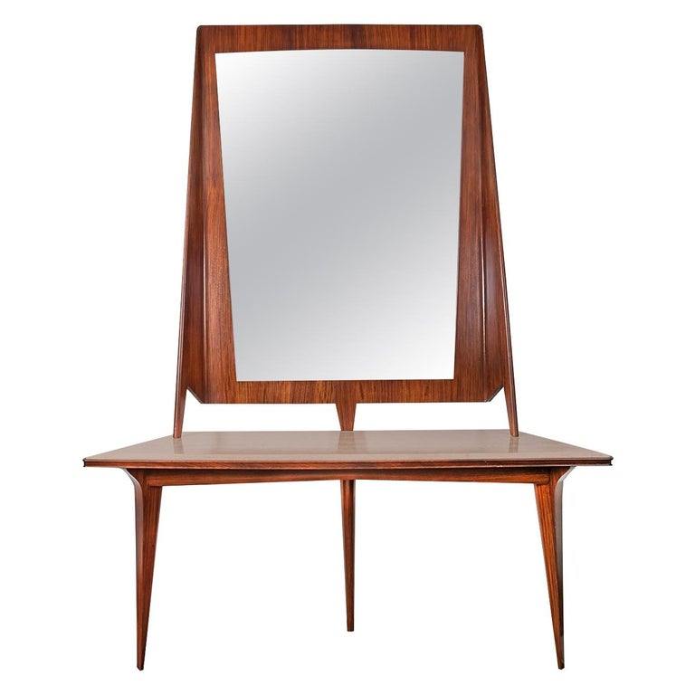 Mirror Console Rosewood and Travertine by Mobili Cantu, 1950 For Sale