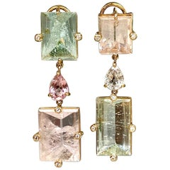 18 Karat Yellow Gold Mirror Cut Beryl Morganite Sapphire Diamond Drop Earrings