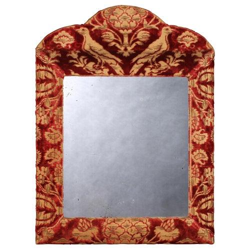 Mirror, Cut-Velvet, Upholstered, Burgundy, Ivory, Cushion Moulded, Cresting