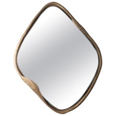 Mirror D, Hand Molded Bronze Framed Organic Diamond Shaped Wall Mirror