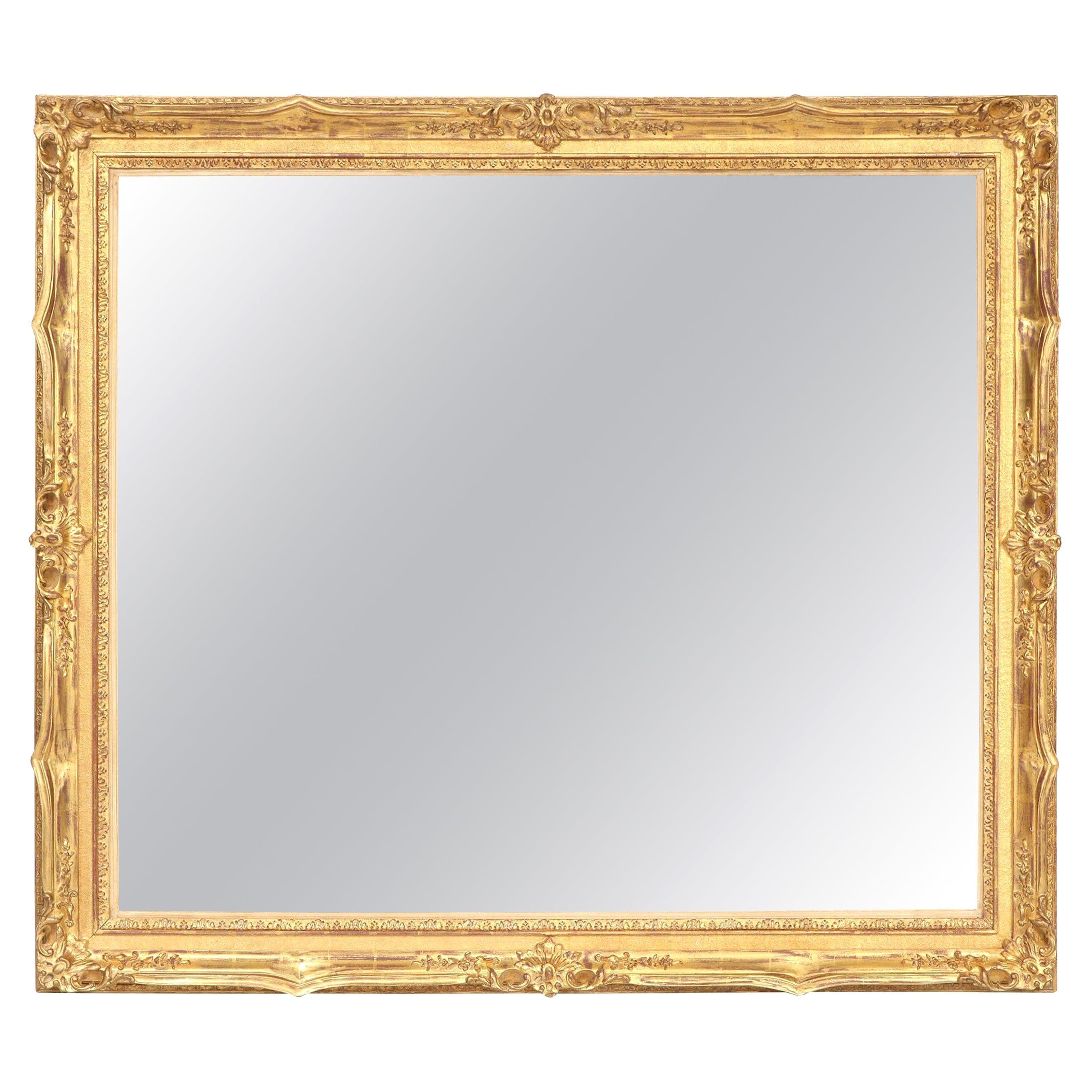 Mirror, Decorative, Antique Wall Mirror, circa 1950, Gold Leaf, Large Mirror