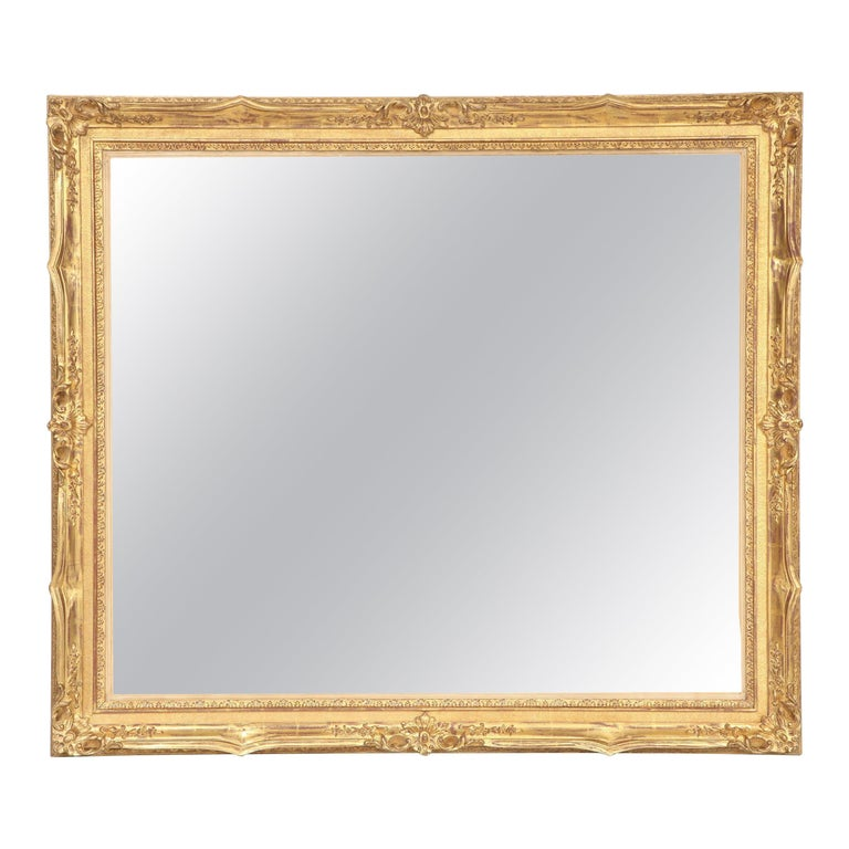 Mirror Decorative Antique Wall Mirror Circa 1950 Gold Leaf Large Mirror For Sale At 1stdibs
