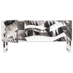 Mirror-Finished Stainless Steel Cabinet/Credenza/Buffet Mesh Object #MS-C03