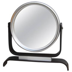 Mirror for table aluminum and wood Italian Design, 1960s