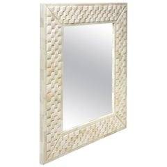 Mirror Frame Made with Carved Bone to Form Basket Weave