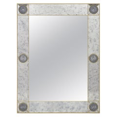 Mirror, Handcrafted Brass and Stained Glass Mirror