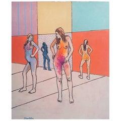 "James Strombotne, titled ""Mirror Image"" Acrylic on Canvas Painting"