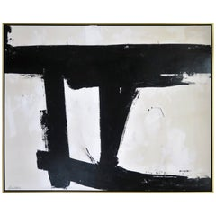"""Mirror Image"" Black and White Abstract by Karina Gentinetta, Signed 60"" x 48"""