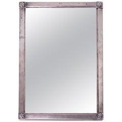 Mirror in a Silver Frame, Biedermeier, circa 1820, Signed