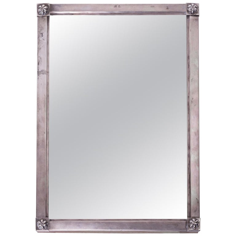 Mirror in a Silver Frame, Biedermeier, circa 1820, Signed For Sale
