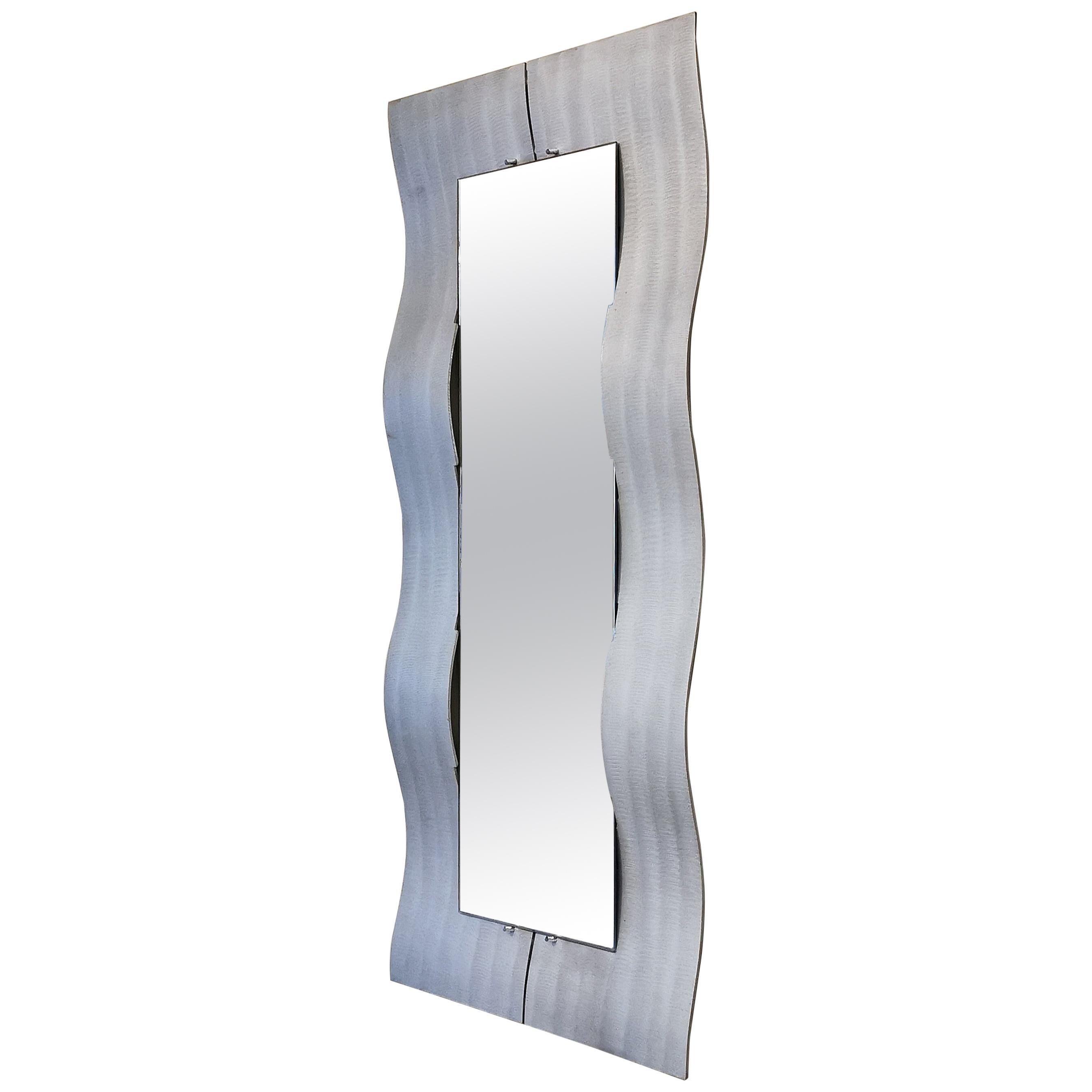 Mid century Wall Mirror Aluminum by Lorenzo Burchiellaro  Italian Design 1970s