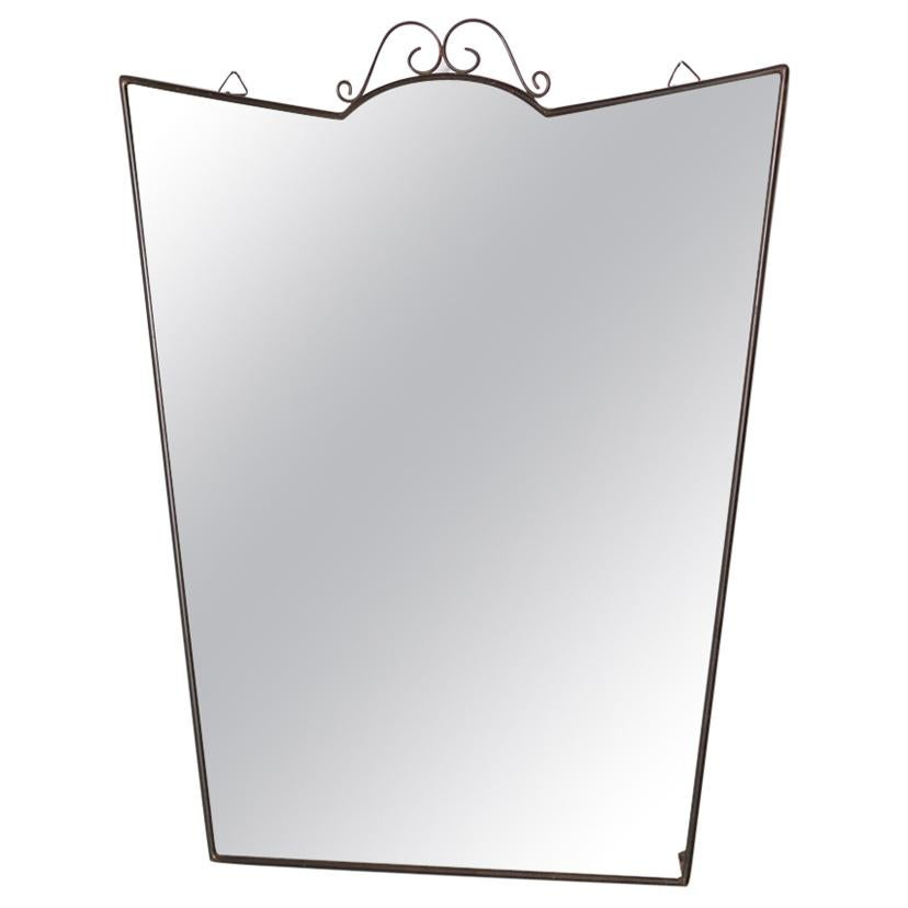 Mirror in Brass from the 1950s, First Patina