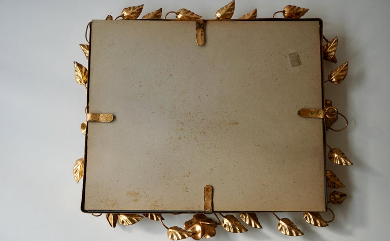 Mirror in Gilded Metal with Vine Leaves Italy, 1970s For Sale 7