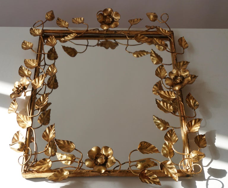 Hollywood Regency Mirror in Gilded Metal with Vine Leaves Italy, 1970s For Sale