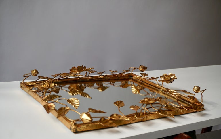 Italian Mirror in Gilded Metal with Vine Leaves Italy, 1970s For Sale