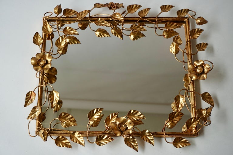 Gilt Mirror in Gilded Metal with Vine Leaves Italy, 1970s For Sale