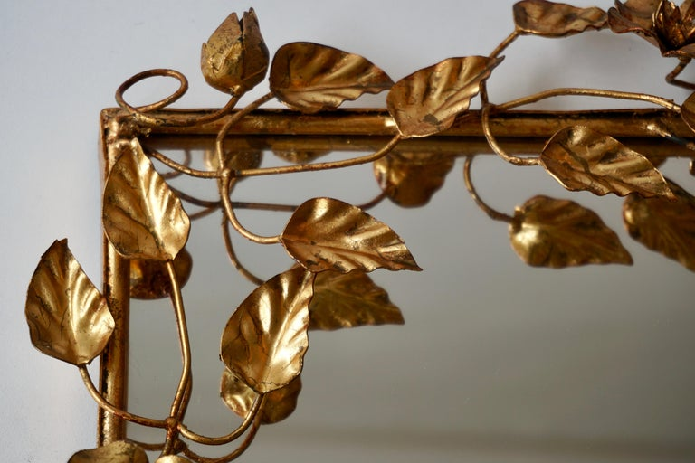 Mirror in Gilded Metal with Vine Leaves Italy, 1970s For Sale 2