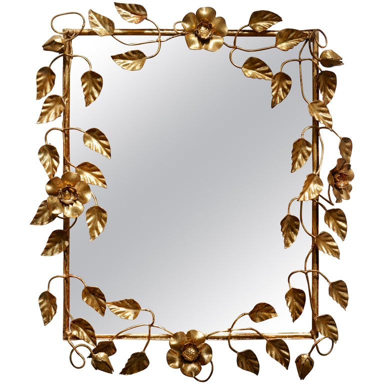 Mirror in Gilded Metal with Vine Leaves Italy, 1970s For Sale