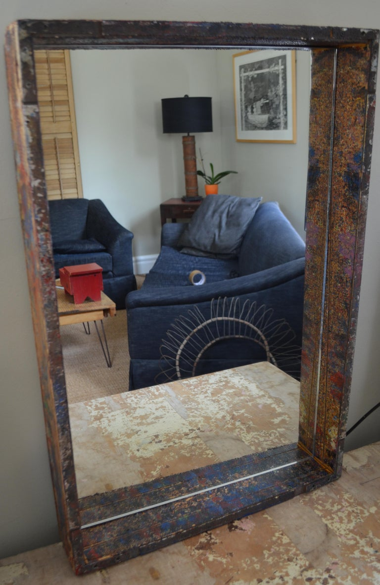 Mirror In Industrial Wood Frame Box From 1950s Auto Paint