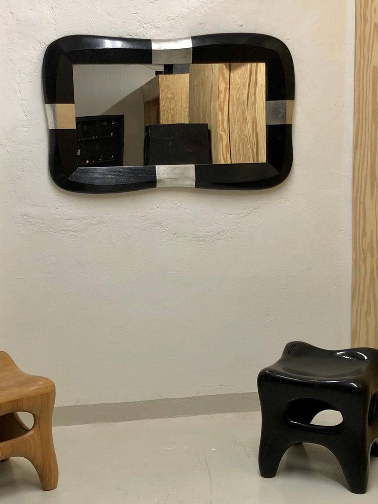 French Mirror in Oak and Pewter by Jacques Jarrrige