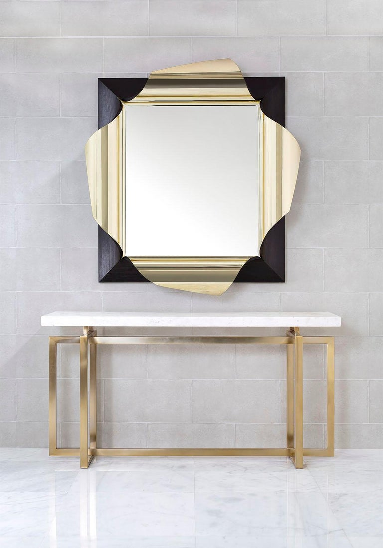Modern Surrealist Mirror in Polished Brass and Fumed Oak, Salvador by Jake Phipps For Sale