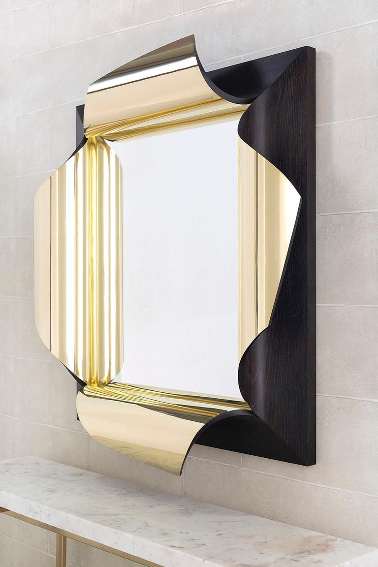 British Surrealist Mirror in Polished Brass and Fumed Oak, Salvador by Jake Phipps For Sale