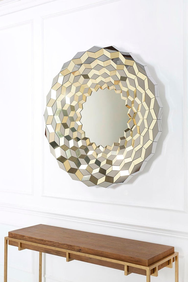 Modern Faceted Mirror in Polished Brass and Steel, Terrace by Jake Phipps For Sale