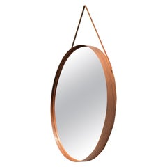 Mirror in Rosewood and Leather by Uno & Osten Kristiansson for Glas Mäster
