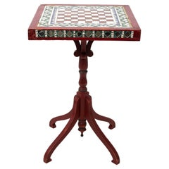 Mirror Inlaid Square Top Side Table
