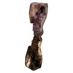 """""""Mirror Lake"""" Amethyst and Cast Bronze Sculpture"""