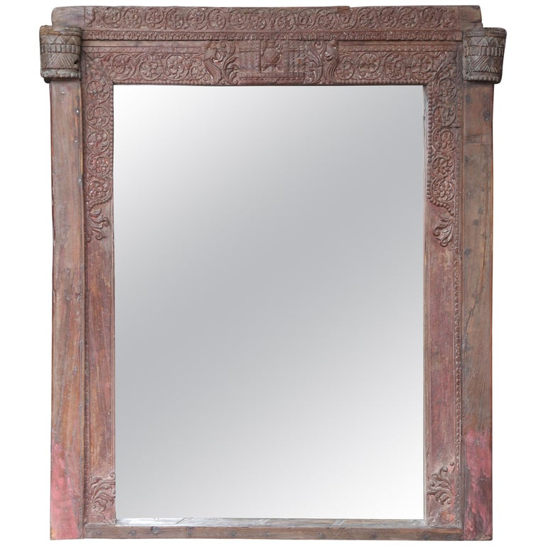Mirror Made From A Carved Teakwood Window Frame Of An