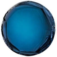 Mirror 'OKO 150' Deep Blue, in Stainless Steel by Zieta