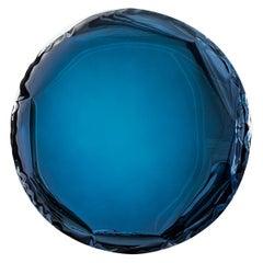 Mirror 'OKO 75' Deep Blue, in Stainless Steel by Zieta