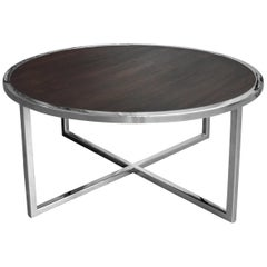 Mirror Polished Stainless and Stained Oak Coffee Table