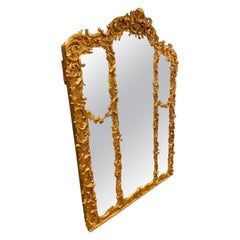 Mirror Rococo Styling Edwardian Wood and Gesso Frame over Mantel Gold Leaf