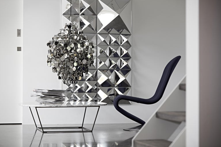 Modern Mirror Sculpture, Four-Pyramid Wall Hanging by Verner Panton For Sale