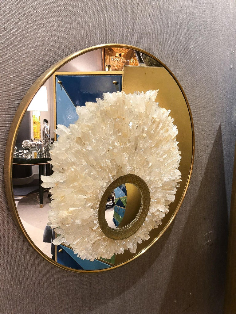 Organic Modern Mirror Sculture with Brass Trim and Amber Rock Crystals, France, 2017 For Sale