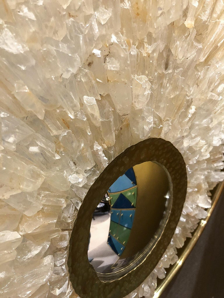 French Mirror Sculture with Brass Trim and Amber Rock Crystals, France, 2017 For Sale