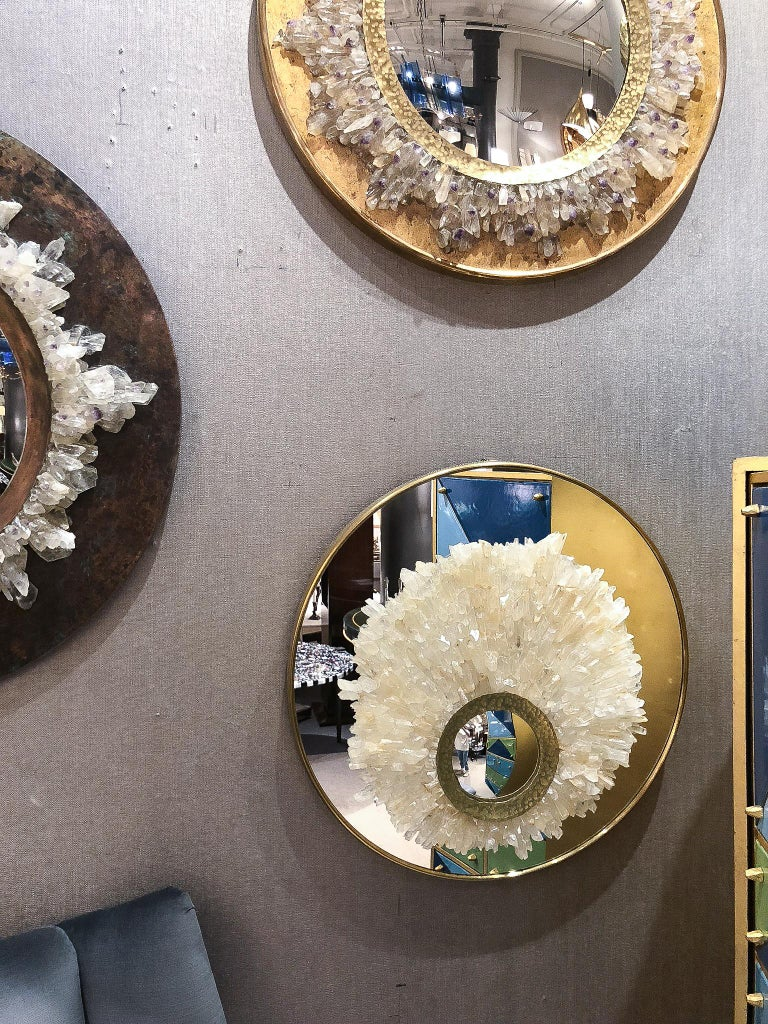 Hammered Mirror Sculture with Brass Trim and Amber Rock Crystals, France, 2017 For Sale
