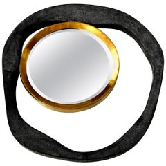 Mirror, Shagreen, Black Color with Brass Details, Organic Shape