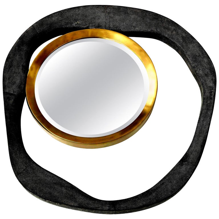Mirror, Shagreen, Black Color with Brass Details, Organic Shape, In Stock For Sale