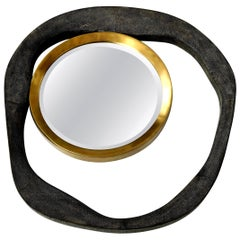 Mirror, Shagreen, Black Color with Brass Details, Organic Shape, in Stock
