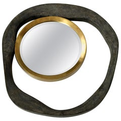 Mirror, Shagreen, Black Color with Brass Details, Organic Style, in Stock