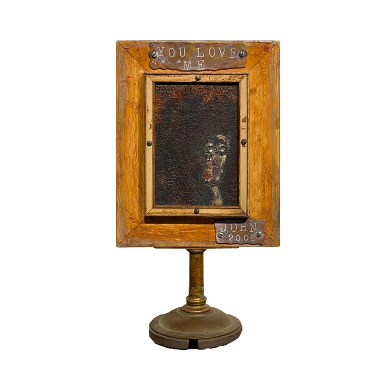 Modern Vanity Mirror, Tell Me That You Love Me, Sculptural Mirror Object with Painting For Sale