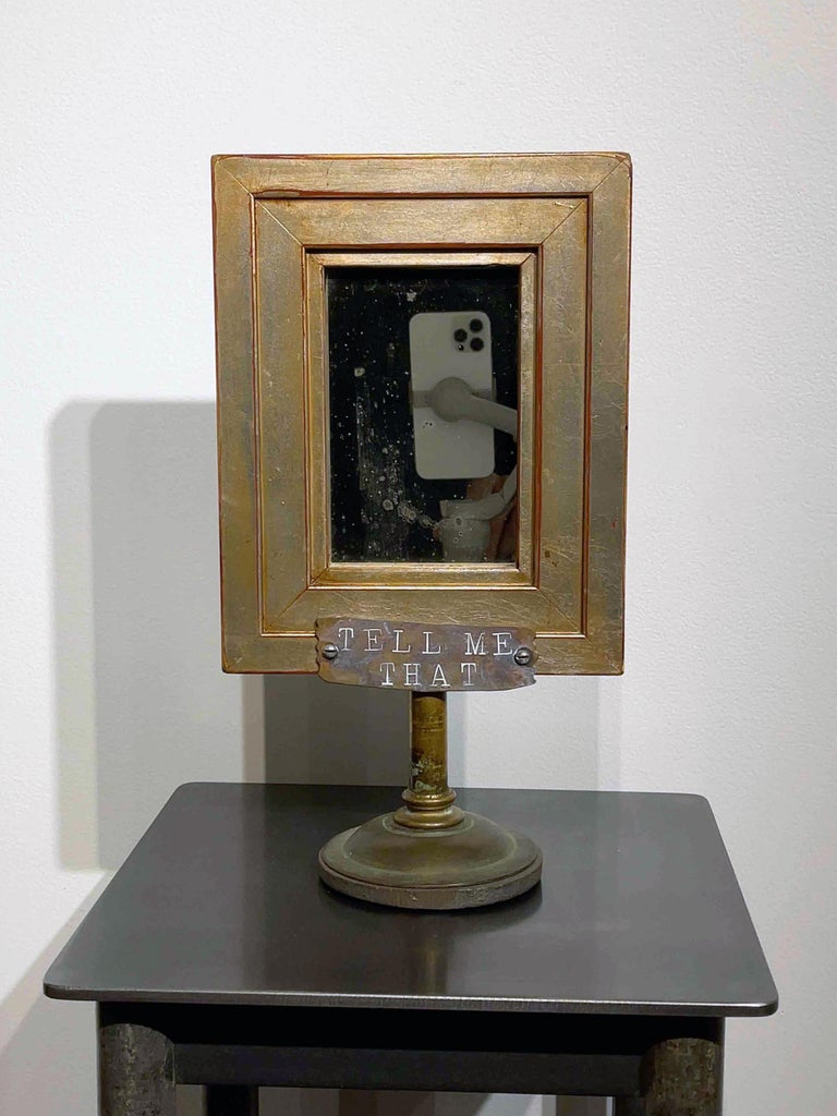 American Vanity Mirror, Tell Me That You Love Me, Sculptural Mirror Object with Painting For Sale